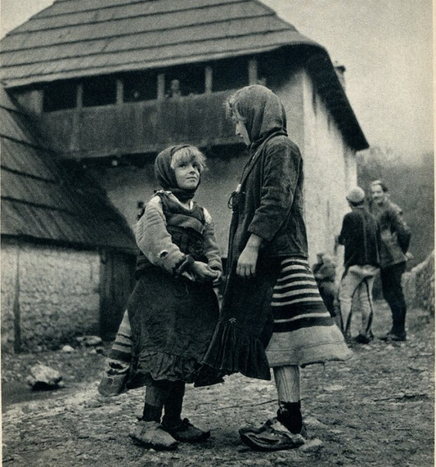 Two girls of Okol the Shala Valley wearing xhubletas (bell-shaped skirts) (Photo - Giuseppe Massani, 1940
