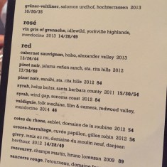 A snippet of The Hungry Cat wine list