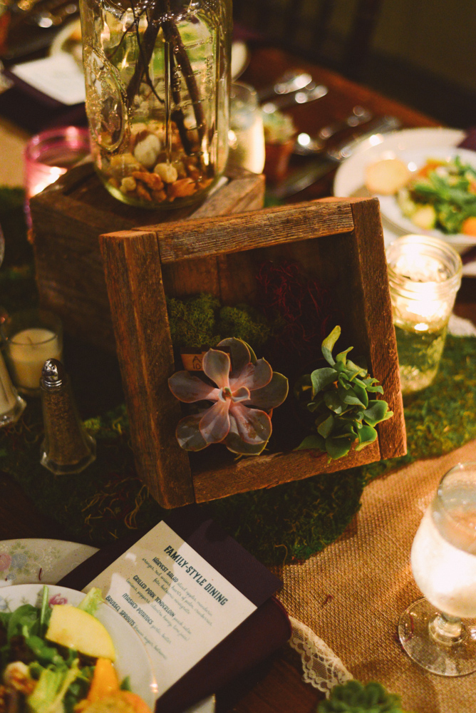 reclaimed wooden boxes and custom menus