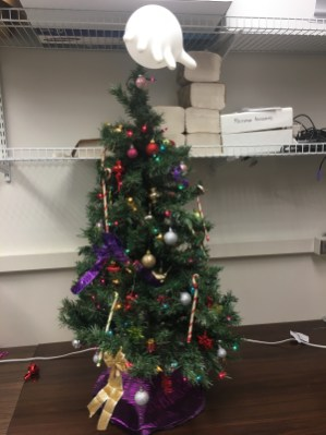 Our holiday tree inside the lab