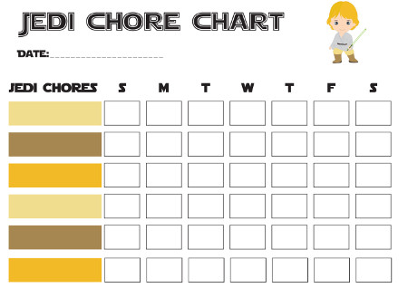 Star Wars Themed Printable Free Chore Charts for The Jr