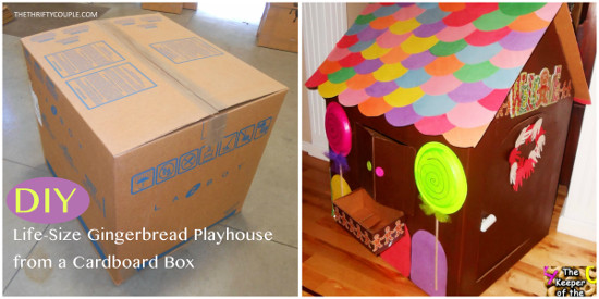 DIY Life Size Gingerbread Playhouse From A Cardboard Box