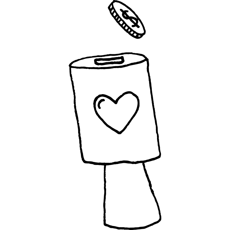 Hand drawn illustration of a coin going into a fundraising can with love heart on it