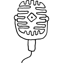 A hand drawn illustration of a microphone