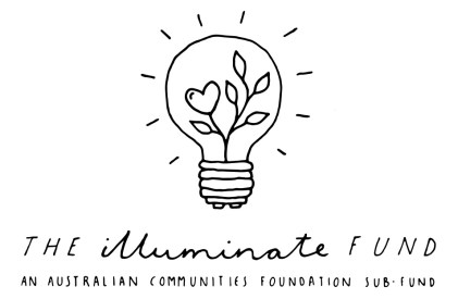The Illuminate Fund logo. A light bulb with a plant growing inside and a heart shaped leaf.