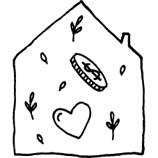 A hand drawn image of a house. Inside is a love heart, coin and small plants.