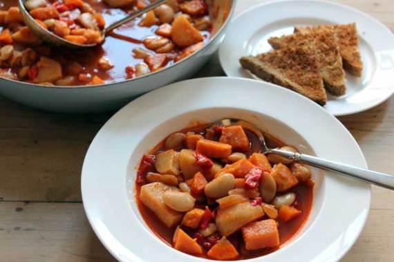 smoky butter bean & sweet potato hotpot recipe