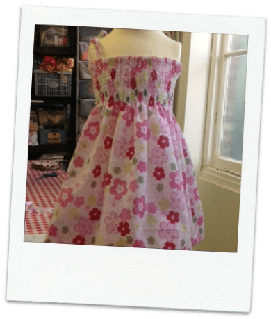 Shirred elastic test dress