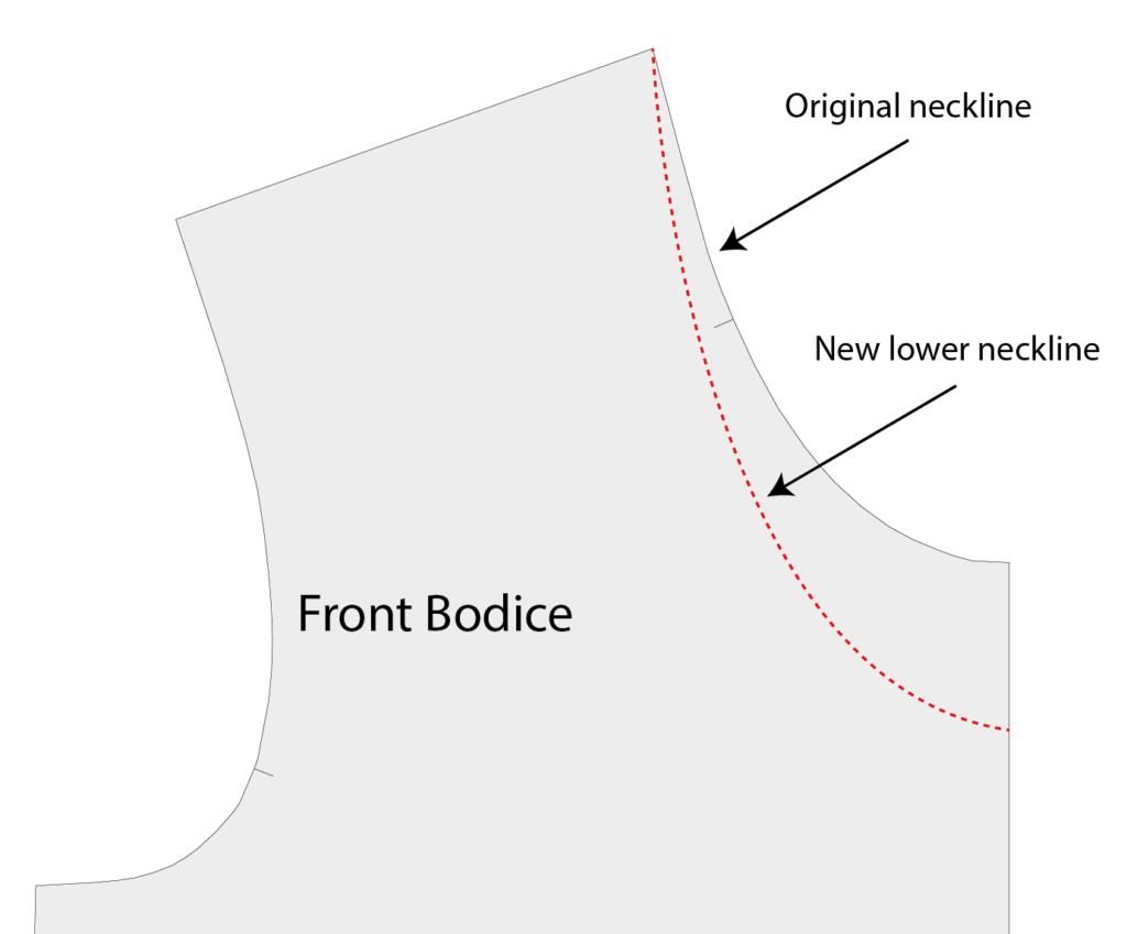 Lowered neckline