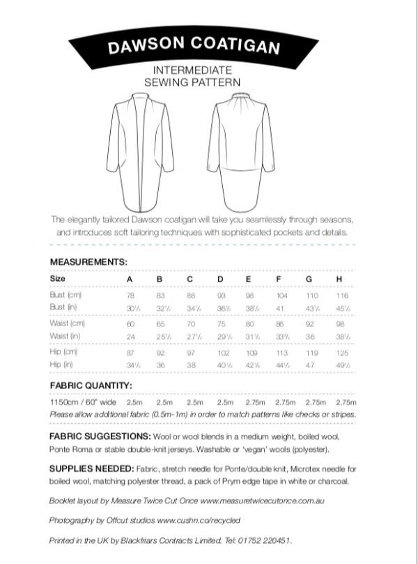 Dawson Coatigan Pattern