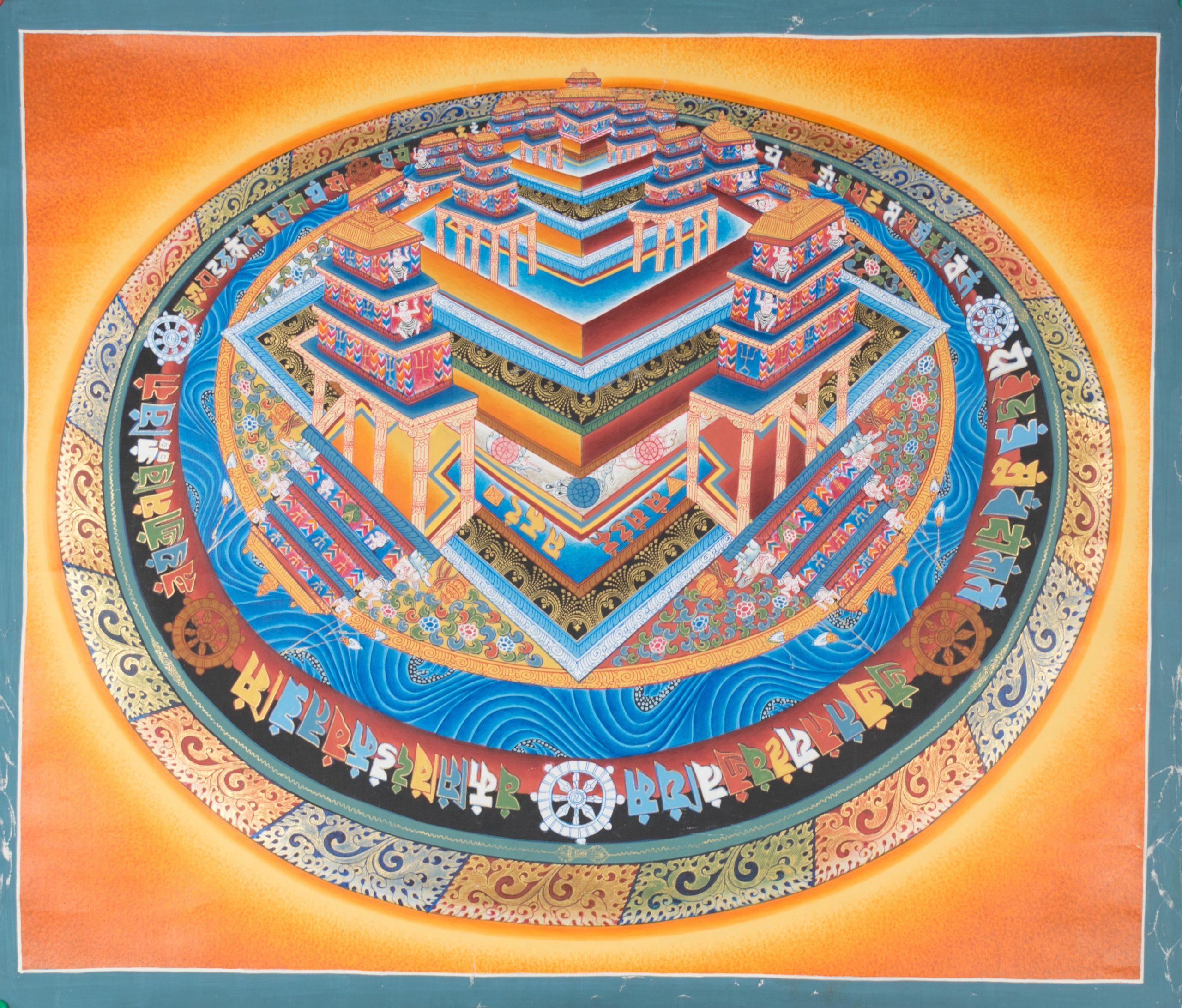 3D Kalachakra Mandala – handmade thanka painting from Nepal – Tibet House