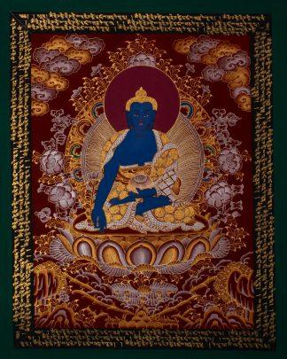 Medicine Buddha - Handmade Thangka Painting from
