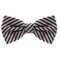 Green, Pink and Black Striped Cotton Bow Tie