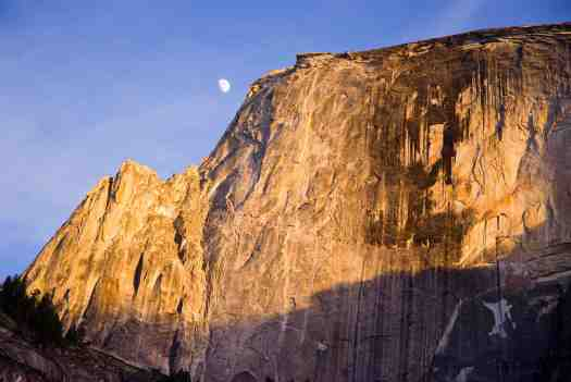 Half Dome and Moon