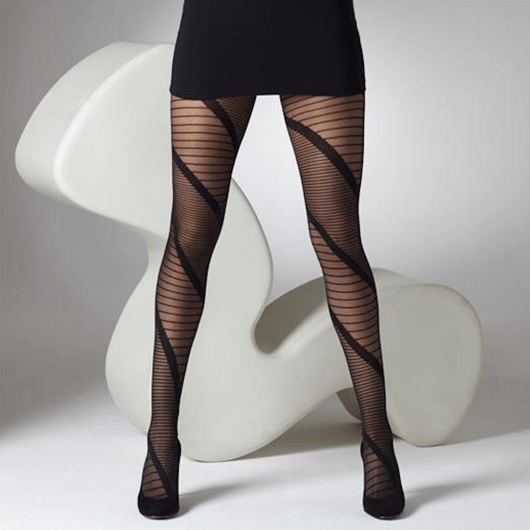 Gipsy Panel Stripe Tights. Black Sheer Strip Design Pantyhose