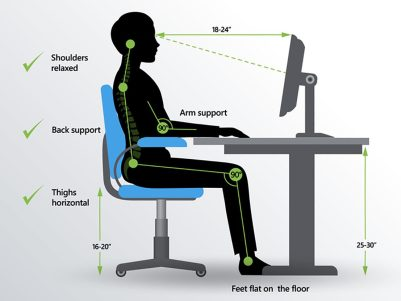 Computer correctly adjusted - correct sitting posture