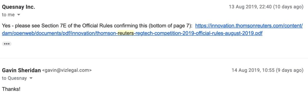 Thomson Reuters - E-mail from them to Gavin Sheridan