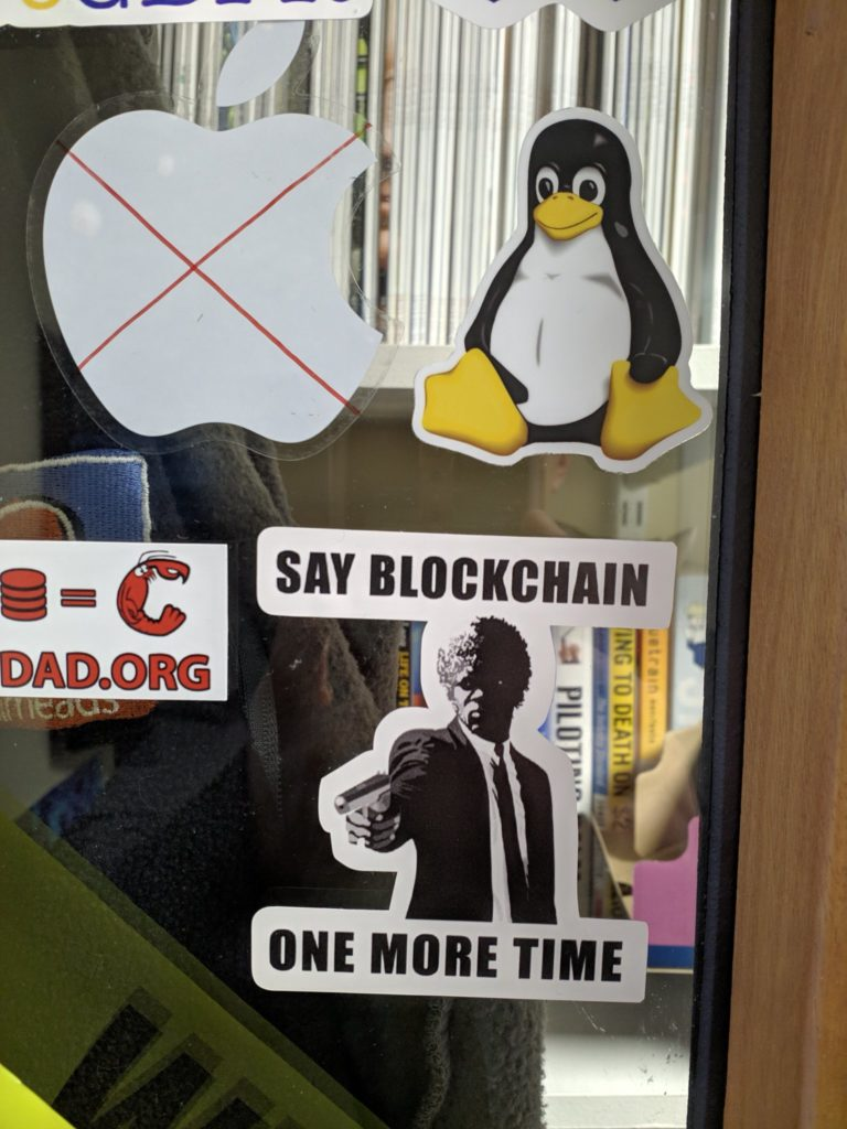 blockchain door sticker