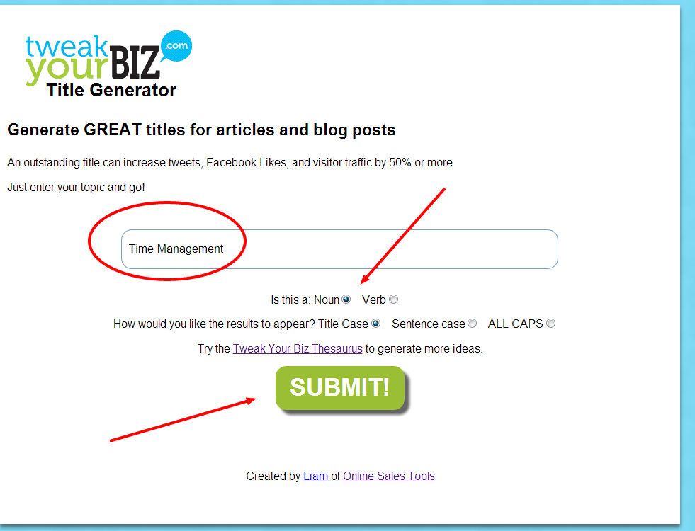 Tweak Your Blog Biz Title Generator