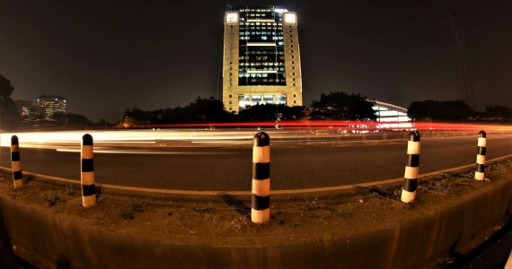 office building on highway