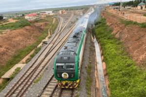 The train departs from Rigasa station, the main rail terminus on the 186km line from Kaduna to Abuja