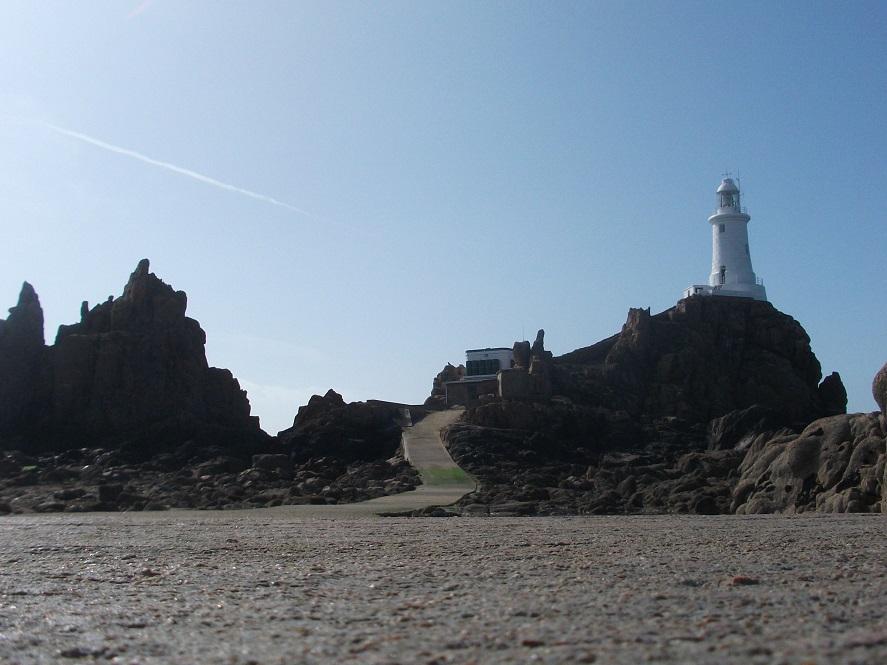 La Corbiere Lighthouse against sunny skies
