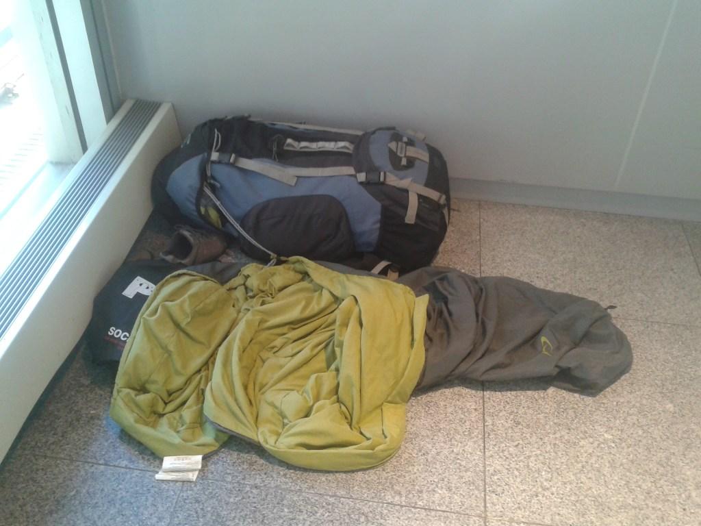 My cosy corner sleeping on the floor at JFK airport