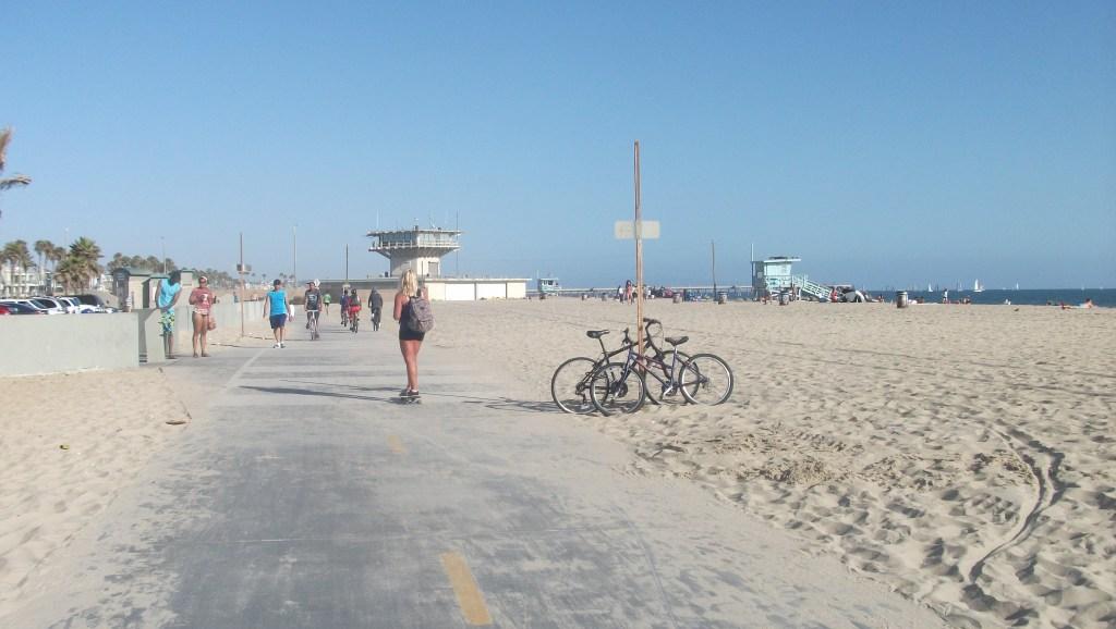 A girl on a skateboard at Venice Beach, Los Angeles