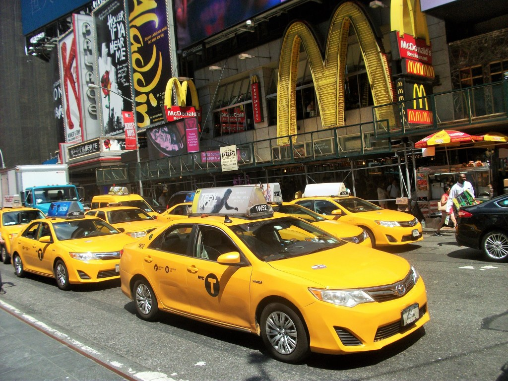 New York yellow taxi cabs at Times Square