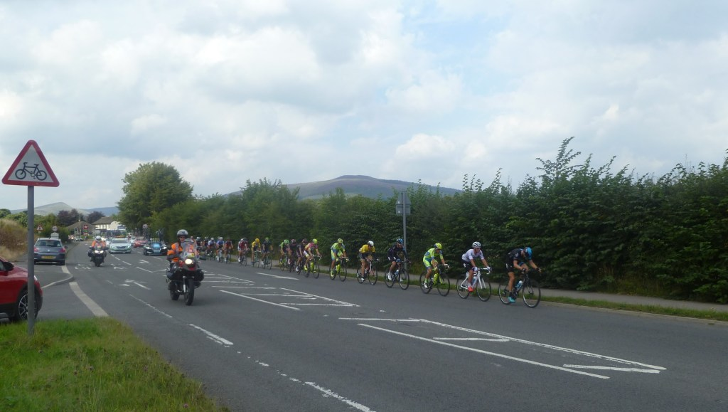 The Tour of Britain Cycle Race passing through the Peak District