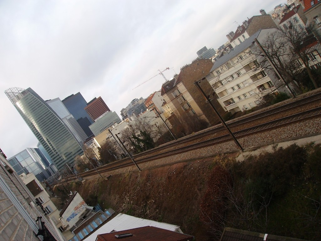 The rail tracks from our hotel in the business district of Paris
