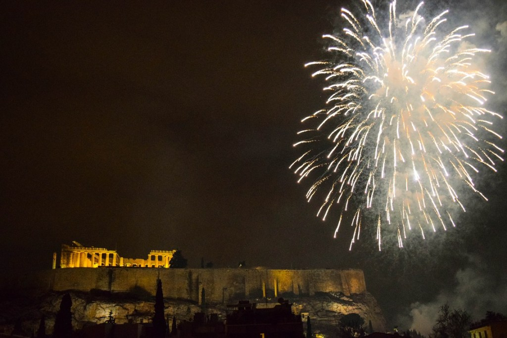 Fireworks bring in the new year in Athens, Greece