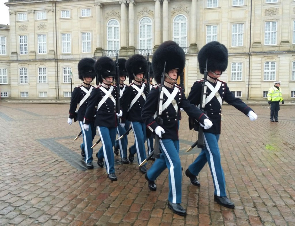Changing of the Guard at Amalienborg Palace in Copenhagen,Denmar