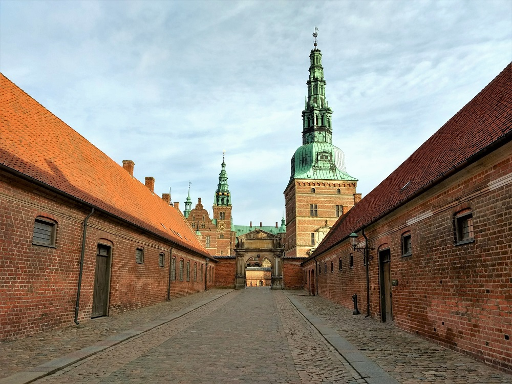 Entrance Area of Frederiksborg Castle with cobbled lane and gatehouse turret