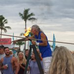 Street performer juggling fire at Mallory Square Key West FL