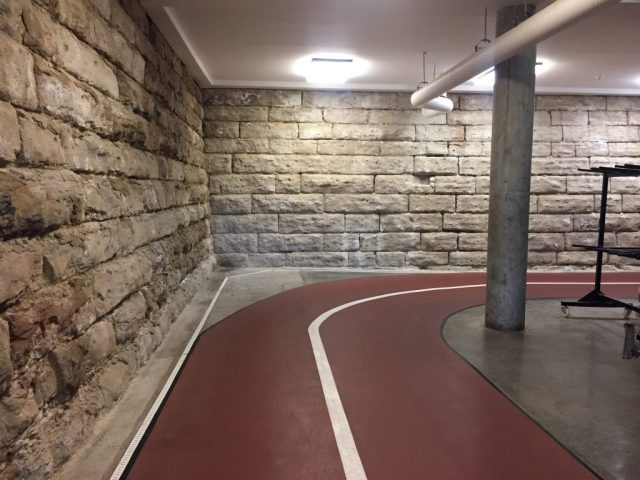 The new indoor track in the Former Union Pacific Railroad Station Leavenworth Kansas