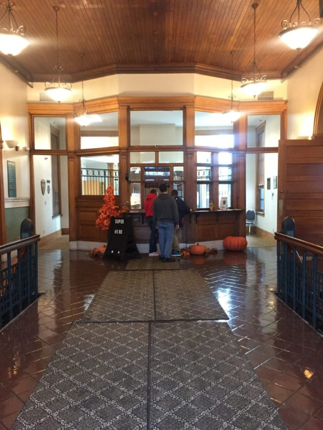 Ticket booth in the Former Union Pacific Railroad Station Leavenworth Kansas
