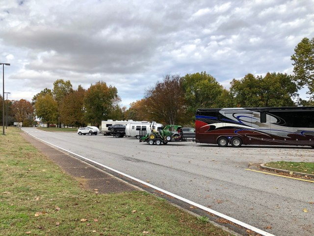 Highway rest stop full of RVs