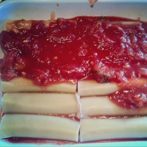 Place cannelloni in oven dish and cover with the tomato sauce