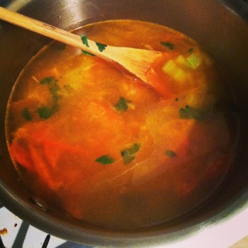 Add Parsley , chickpeas, water and stock