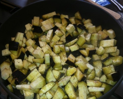 Add olive oil, garlic and chopped aubergine