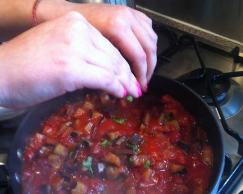 Add chopped basil