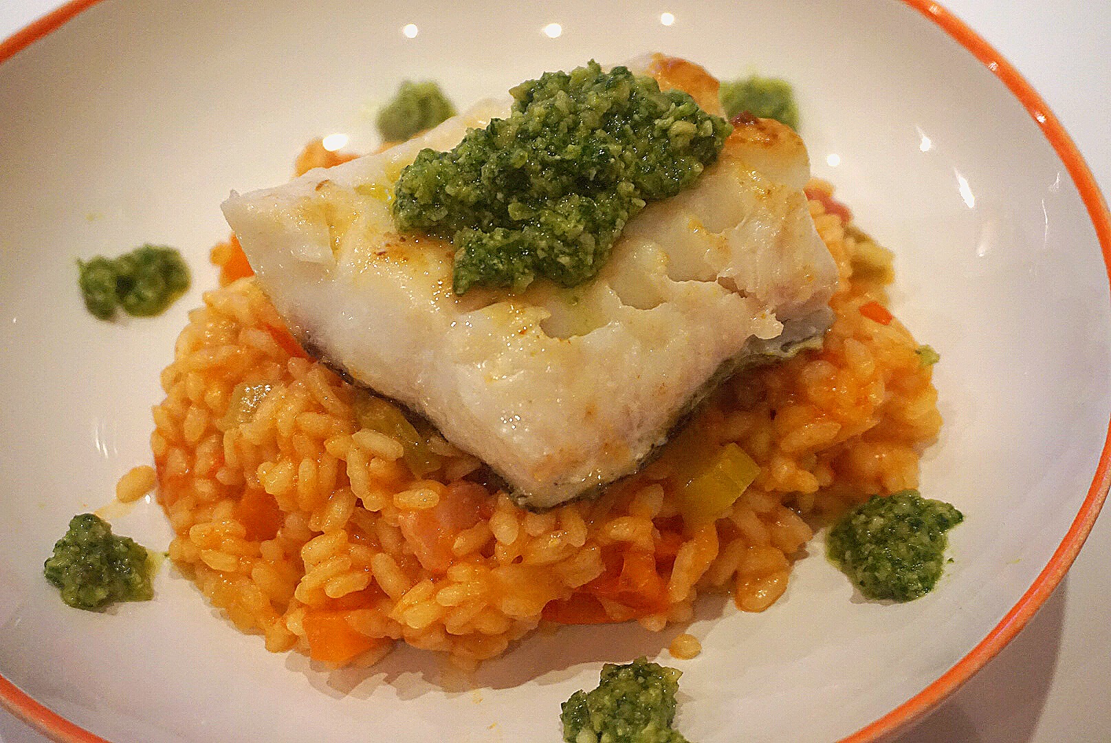 Pan fried cod and cherry tomato risotto the tiny italian for Fried cod fish recipes