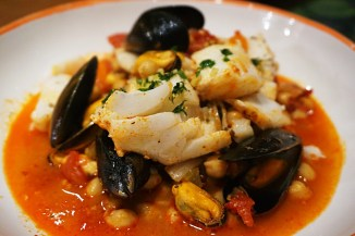 Cod mussels chickpea stew