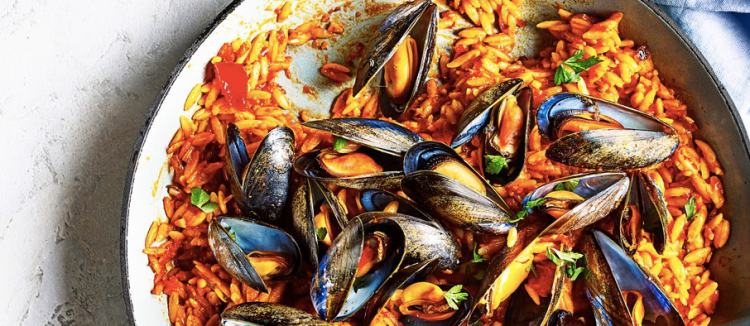 Mussels with orzo and 'nduja