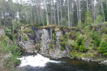 A sheer cliff-like gorge covered in moss and mushrooms with a waterfall tumbling below