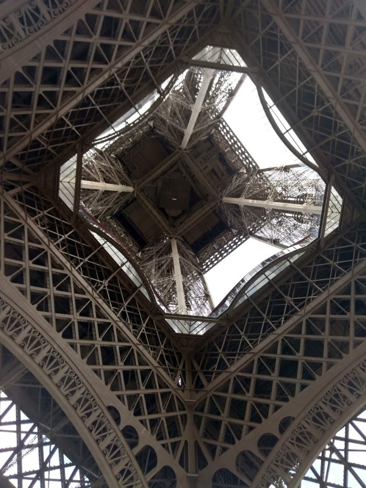 The Eiffel Tower from underneath, geometric squares within squares