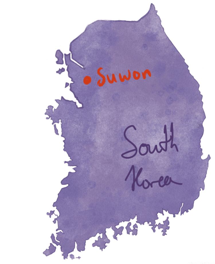 Suwon travel guide, purple hand drawn map of korea with Suwon highlighted with a red dot.