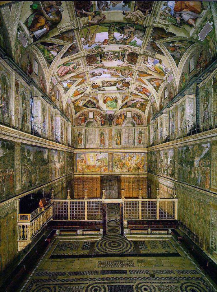 Vatican travel guide sistine chapel covered from floor to ceiling in paintings, the room is bisected by a screen and the room is rectangular.
