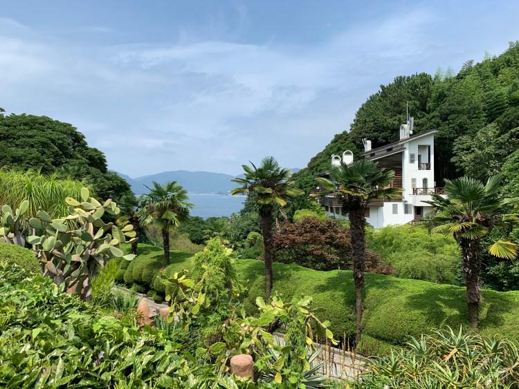 Tropical botanical gardens overlooking the ocean